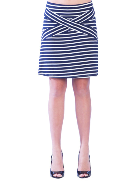 Striped Criss Cross A-Line Skirt - Navy Skirt - Navy and White Striped Skirt, Nautical Skirt