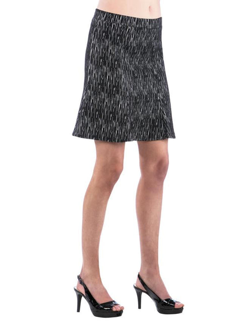 A-Line Panel Black and White Textured Skirt