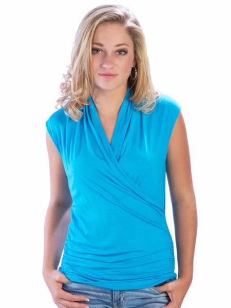 Crossover Faux Wrap Top with Gathered V-Neck - Blue Tank Top