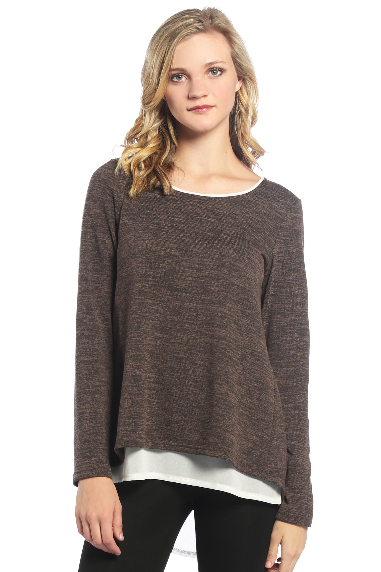 Open Back Layered Top in Brown