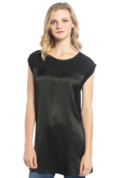 Satin Tunic Top in Black