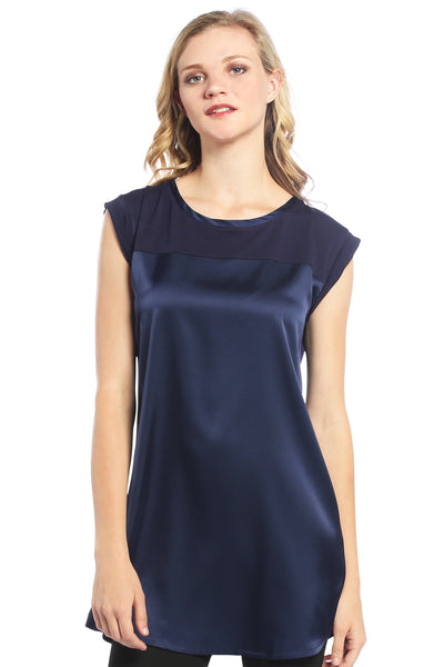Satin Tunic Top in Navy