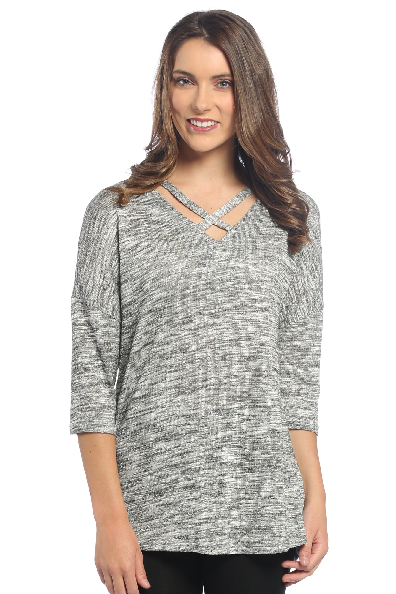 Metallic Criss Cross Neckline Top in Silver