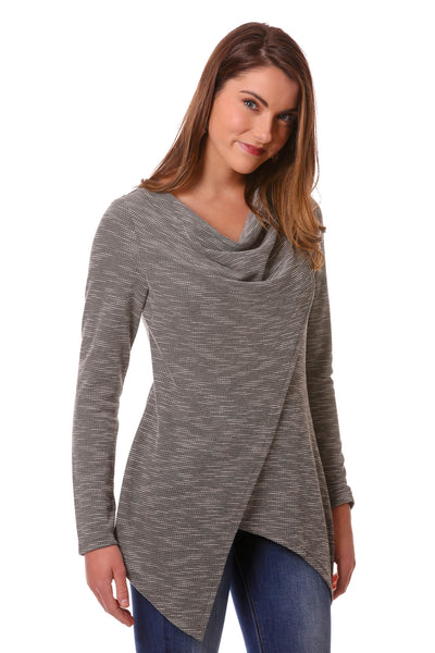 Waffle Weave Knit Cross Over Cowl Top in Grey