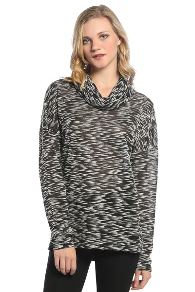 Cowl Neck Dolman Top in Black/White