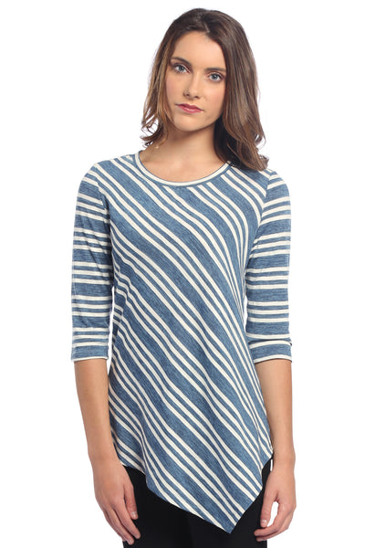 Asymmetrical Striped Tunic Top in Blue and White