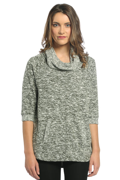 Cowl Neck Sweater Top in Green