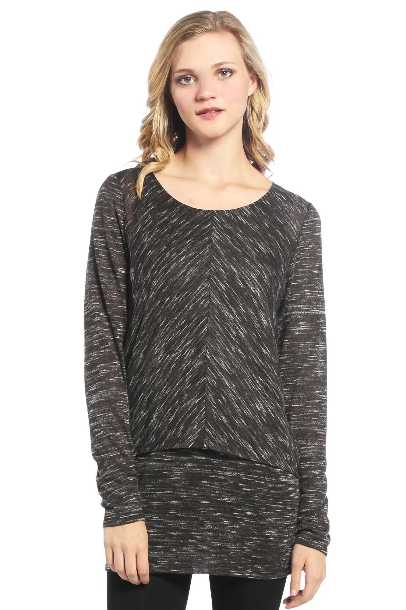 Double Layer Tunic with Slub Knit in Black