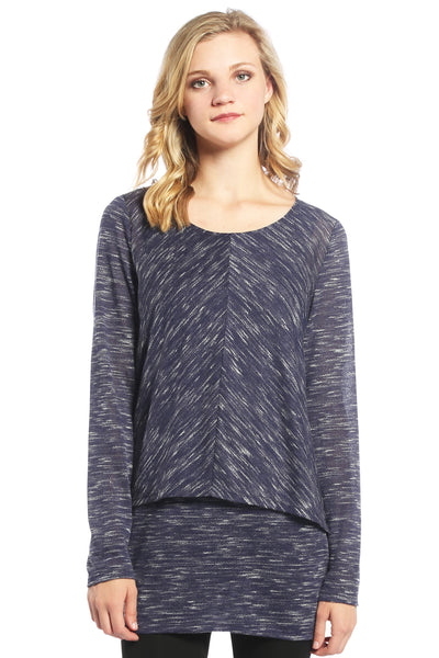 Double Layer Tunic with Slub Knit in Navy