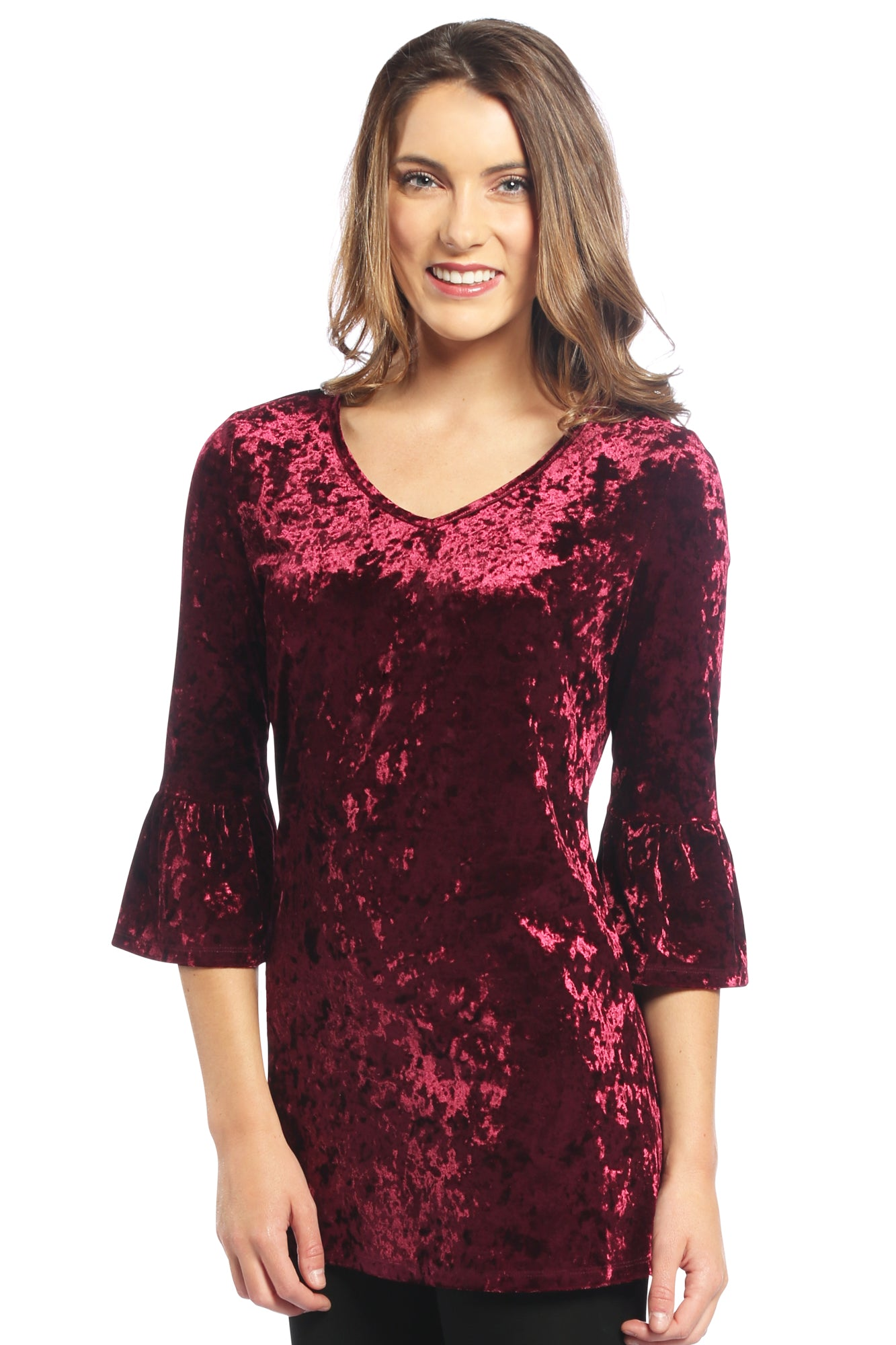 Velvet Bell Sleeve V Neck Top in Maroon