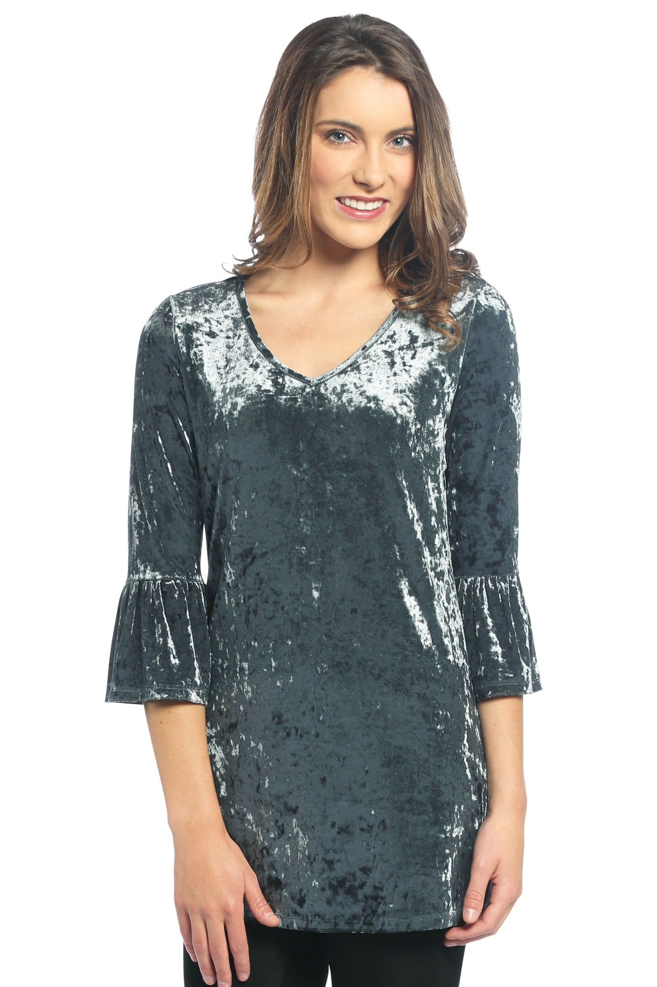 Velvet Bell Sleeve V Neck Top in Steel Blue