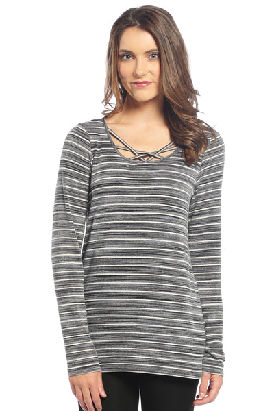 Criss Cross Neckline Striped Long Sleeve Top in Black