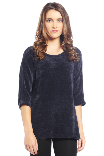 Chenille Dolman Sweater Top in Navy