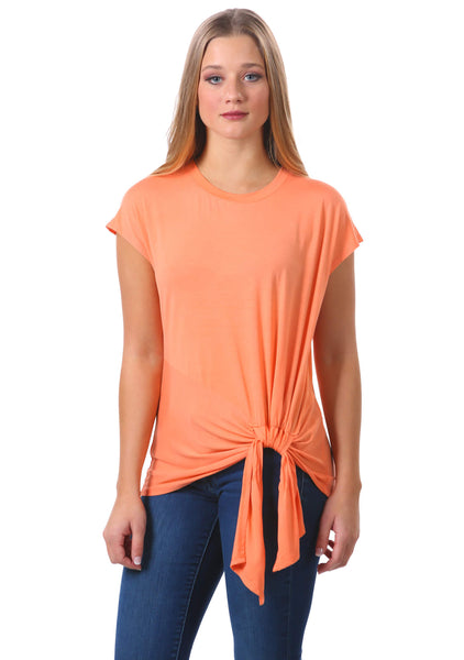 Neesha | Women's Tie-Front Short Sleeve Top in Orange