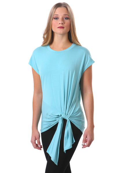 Neesha | Women's Tie-Front Short Sleeve Top in Sea Foam