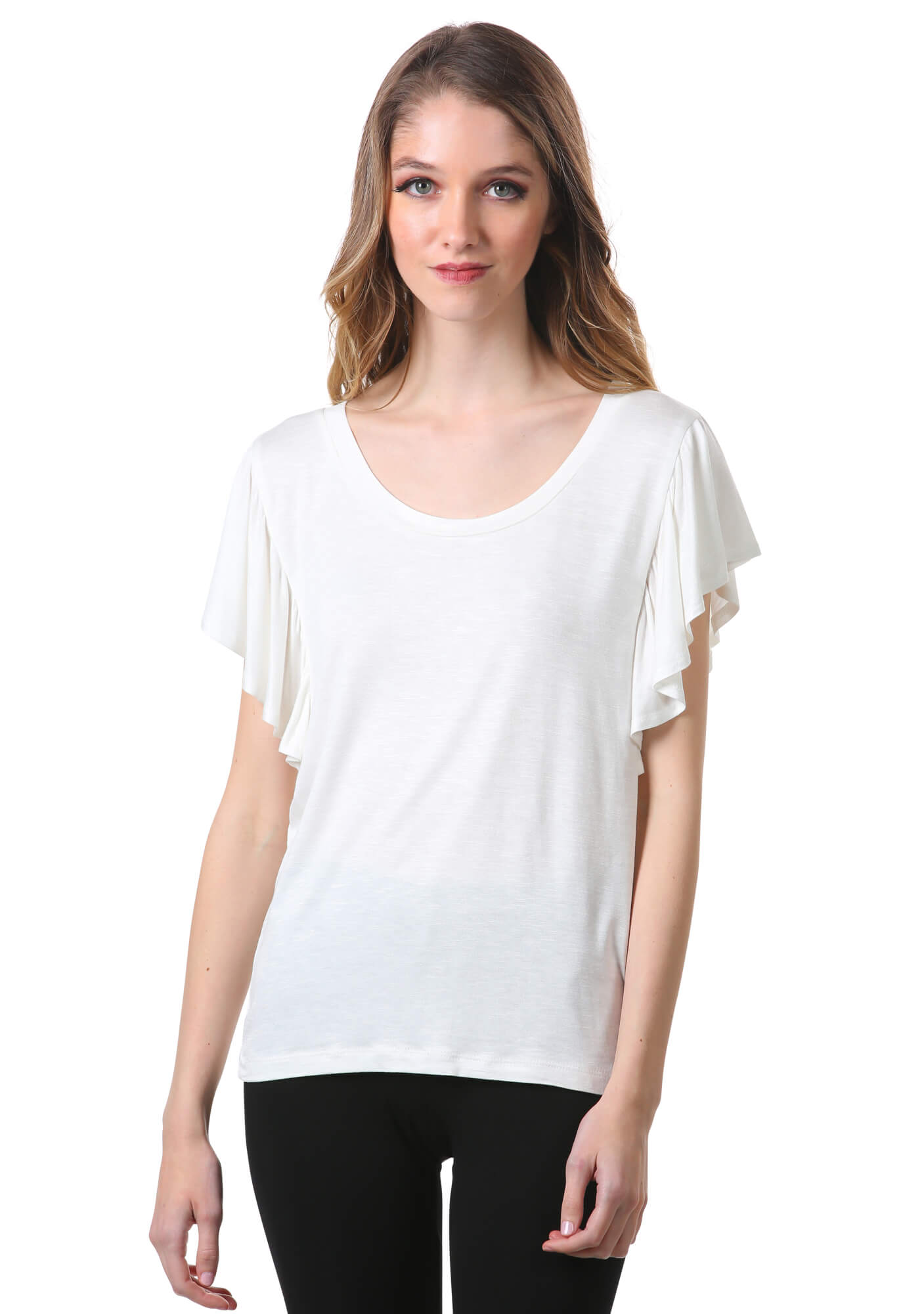 Flutter Short Sleeve Scoop Neck Top in White