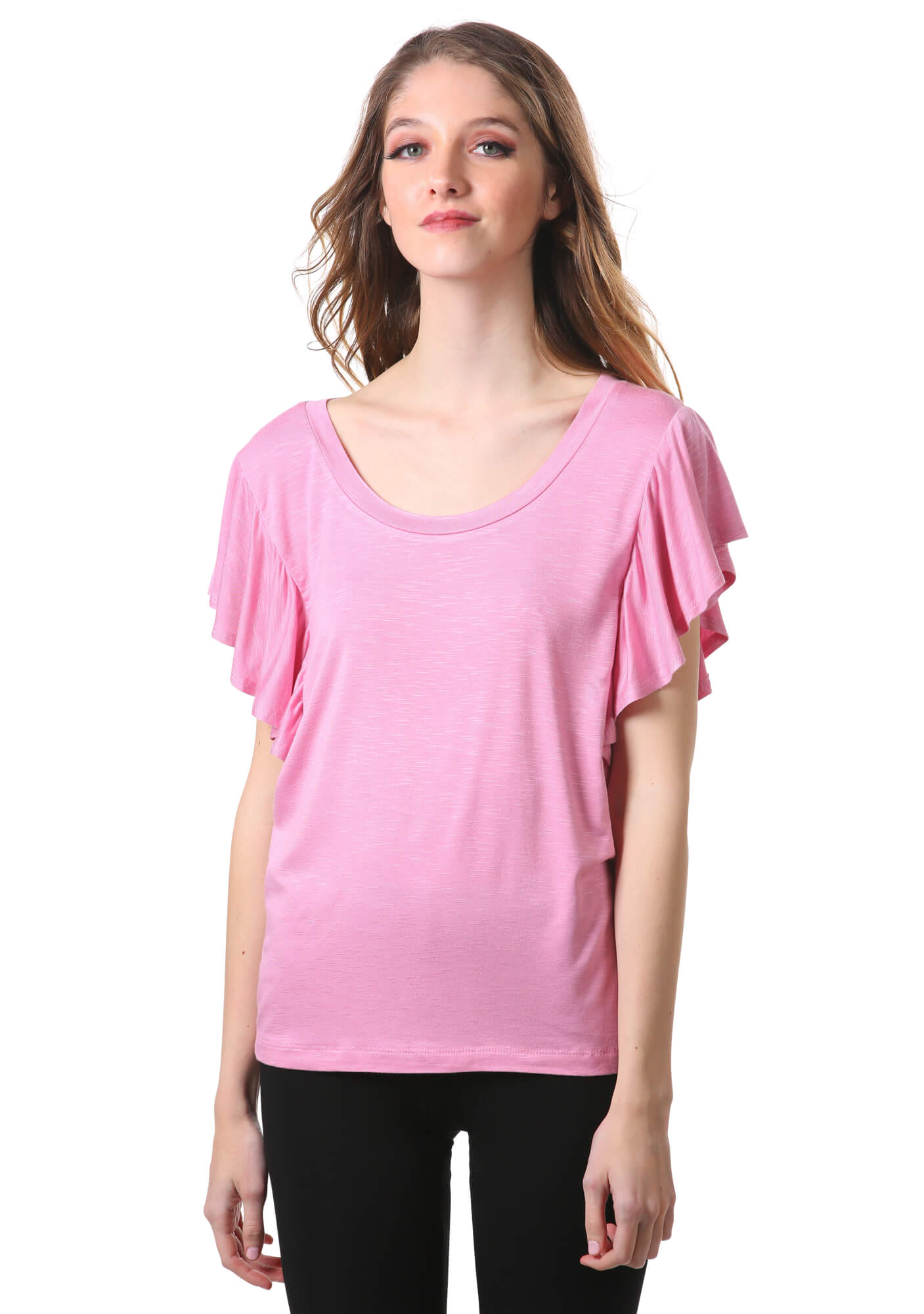 Flutter Short Sleeve Scoop Neck Top in Pink