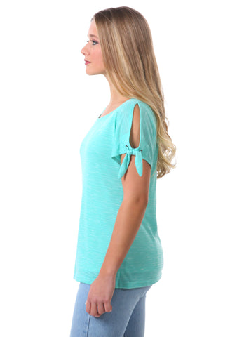 Basic Knotted Sleeve Top with Grommets