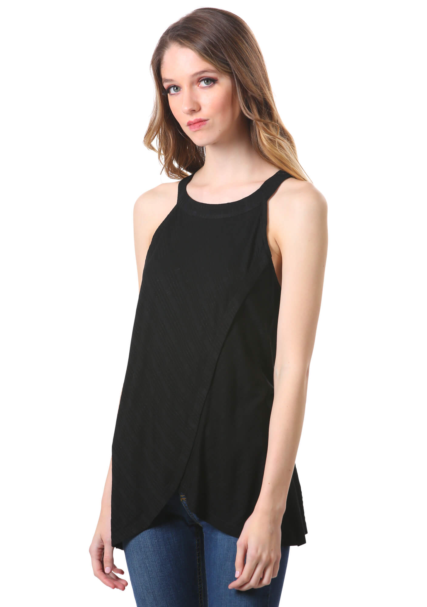 Cross Over Rib Knit Tank Top