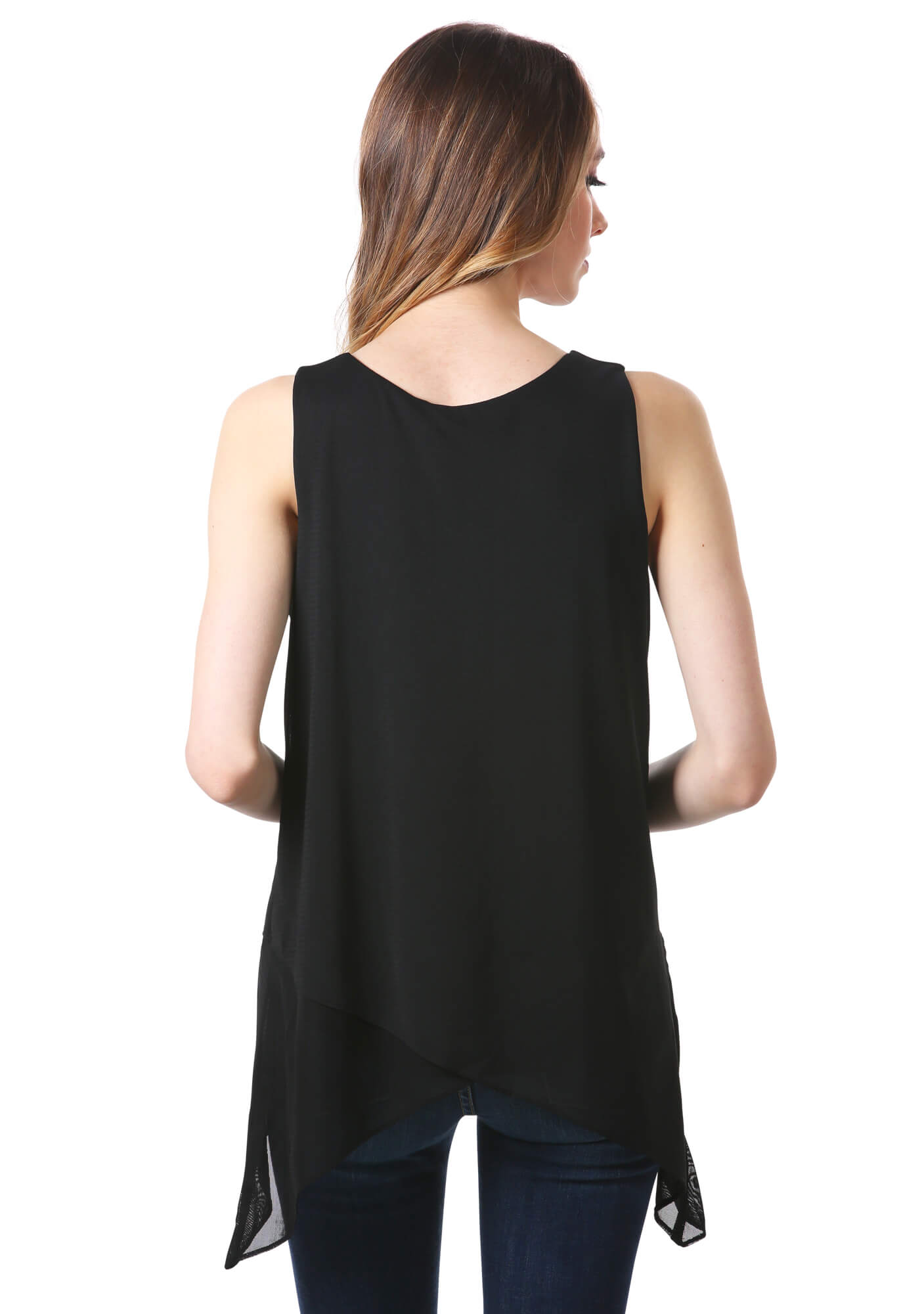 Black Layered Mesh Irregular Hem Tunic