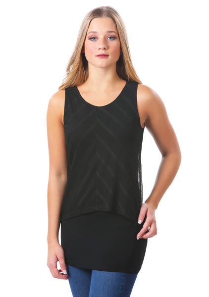 Striped Mesh Layered Tunic Top in Black