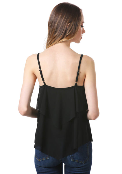 Black Mesh Tiered Tank Top