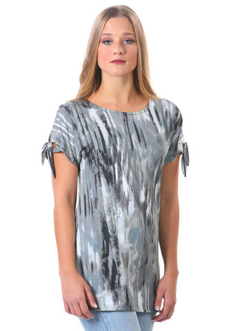Basic Knotted Sleeve Tunic Top with Grommets | Neesha | Grey Tunic Top