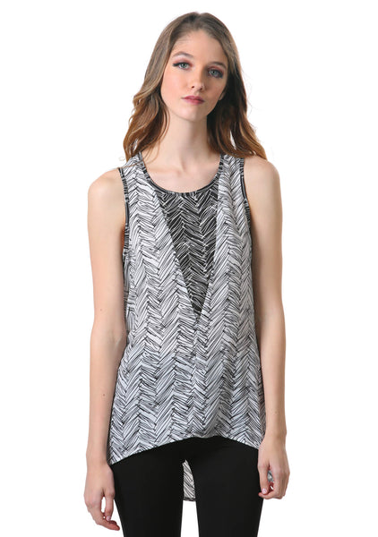 High Low Triangle Insert Top | Neesha | Black and White High Low Tank