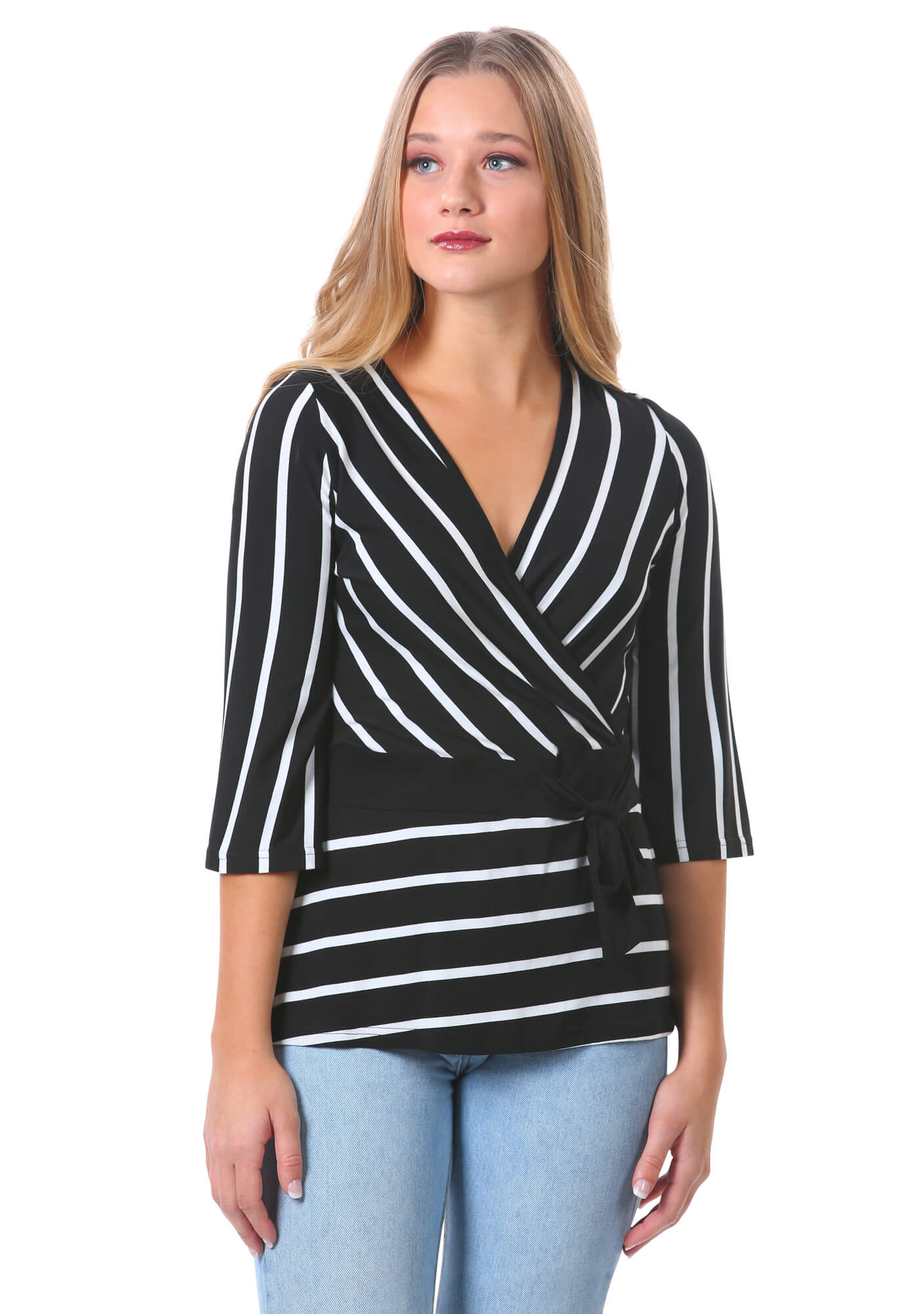 Striped Surplice Tie Top