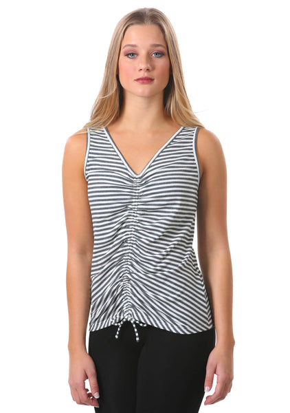 Striped Rib Knit Drawstring Tank | Grey White Stripes