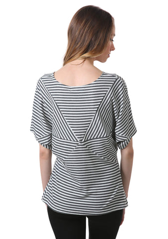 Striped Star Dolman Top | Grey and White Striped Top