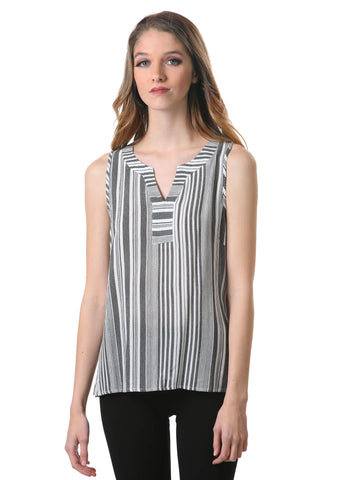 Striped V Neck Top