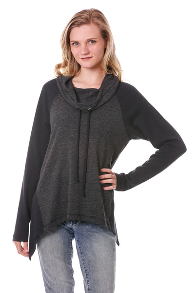 Irregular Hem Drawstring Cowl Neck Top-Charcoal/Black