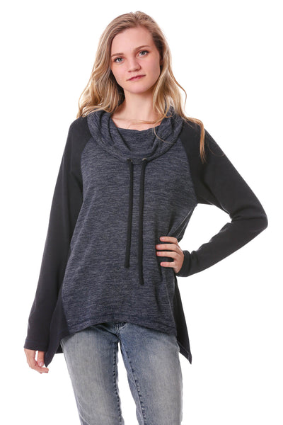 Irregular Hem Drawstring Cowl Neck Top-Navy/Black