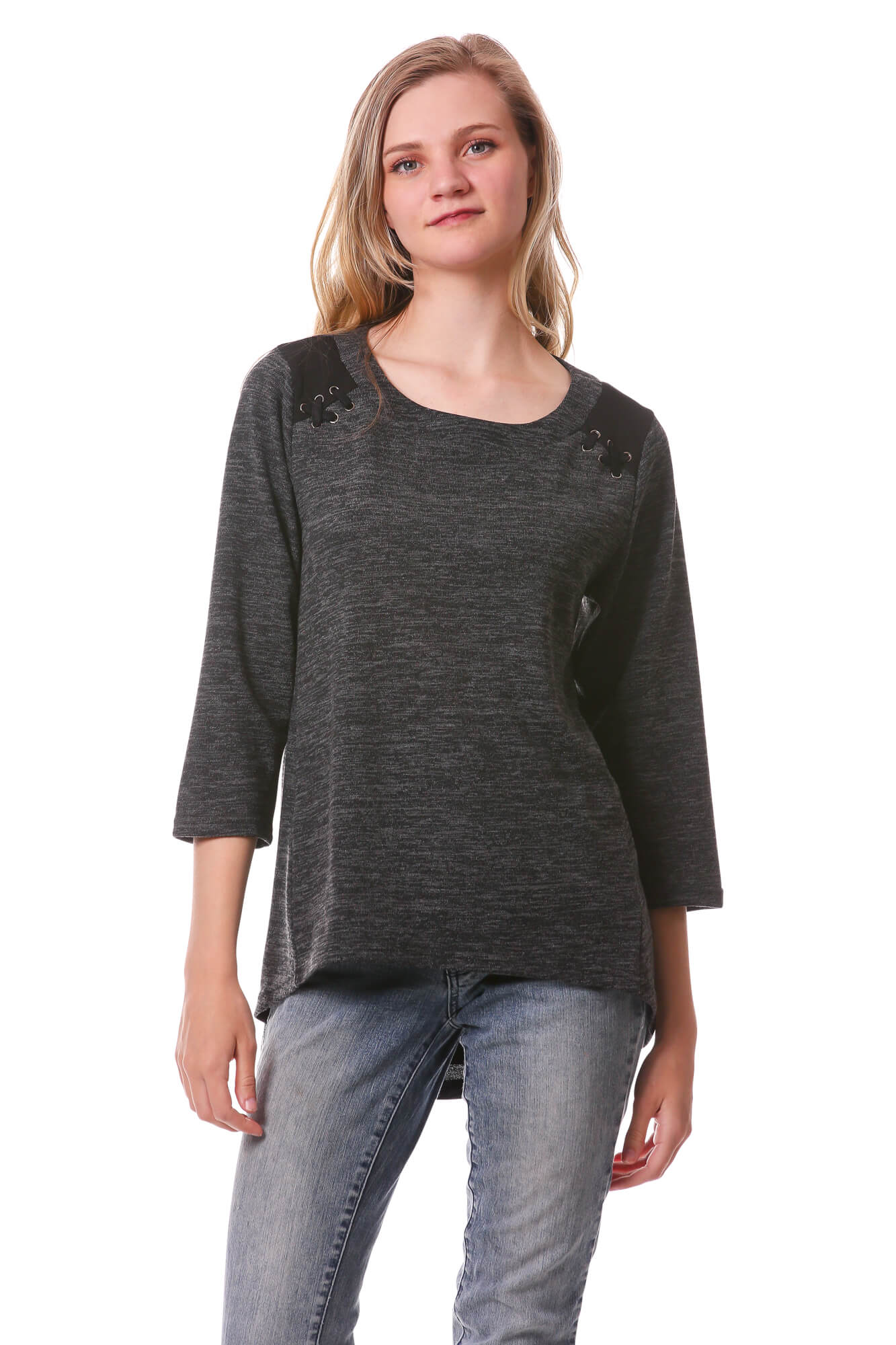 Women's High Low Top with 3/4 Sleeves | Basic Laced Shoulder | Neesha