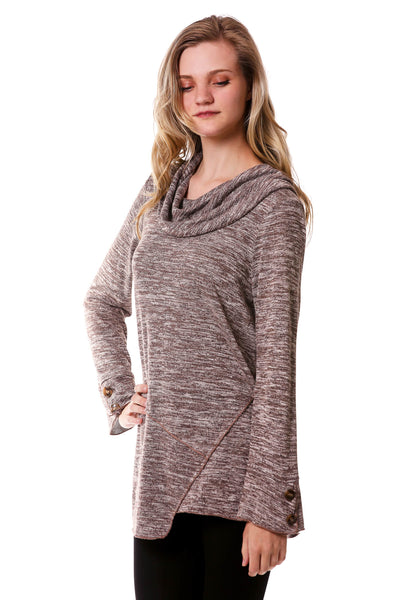 Asymmetrical Cowl Top w/ Button Sleeves-Brown