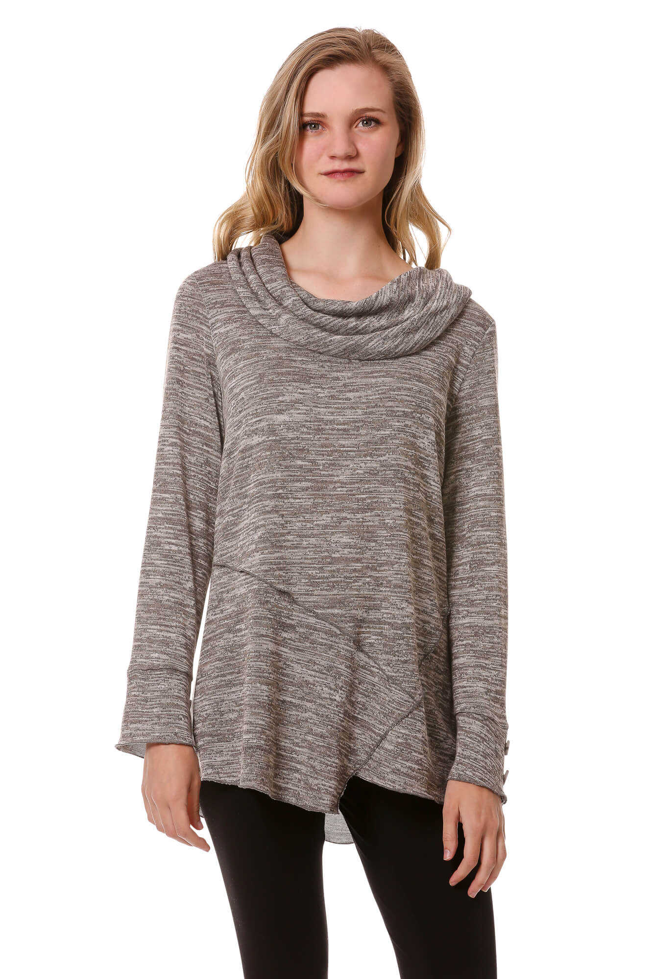 Asymmetrical Cowl Top w/ Button Sleeves-Heather