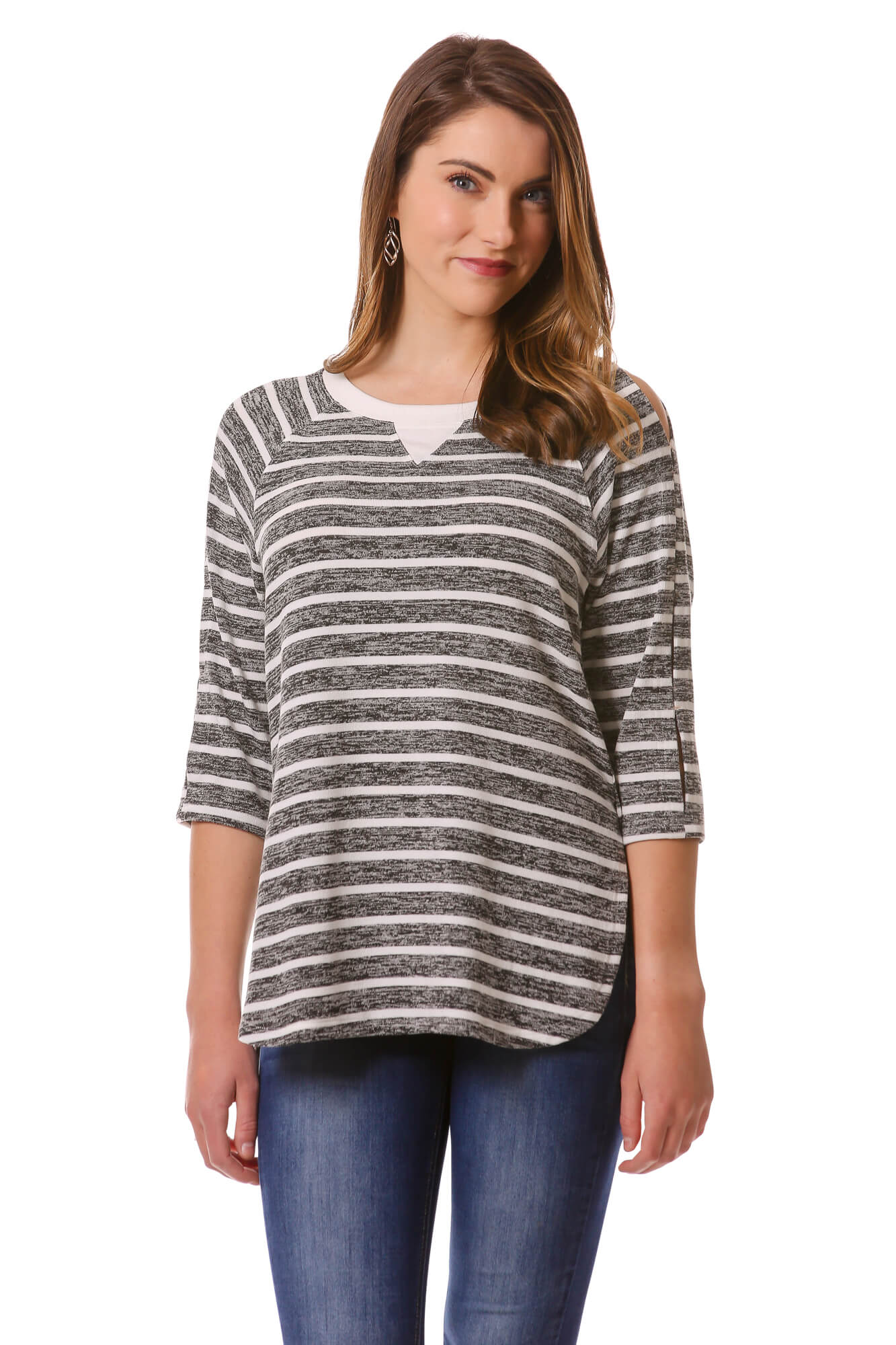 Women's Grey and White Striped Basic Long Tee, Open Sleeve Color Block