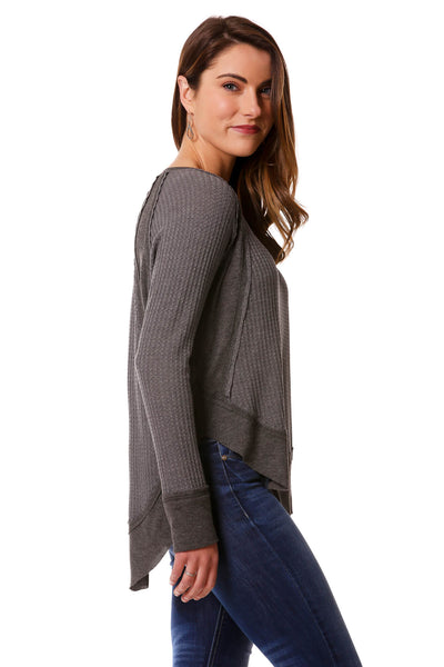 Athleisure Mixed Fabric Top