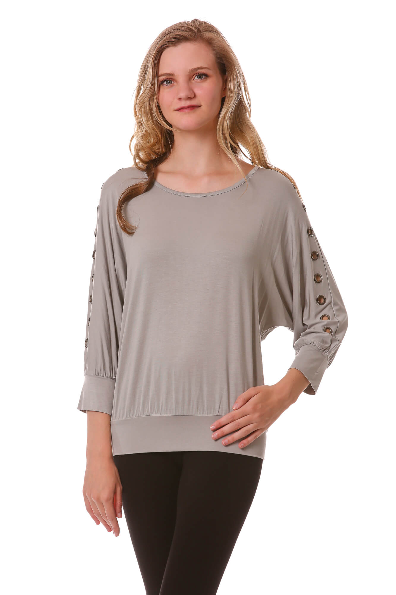 Grommet Sleeve Dolman Top