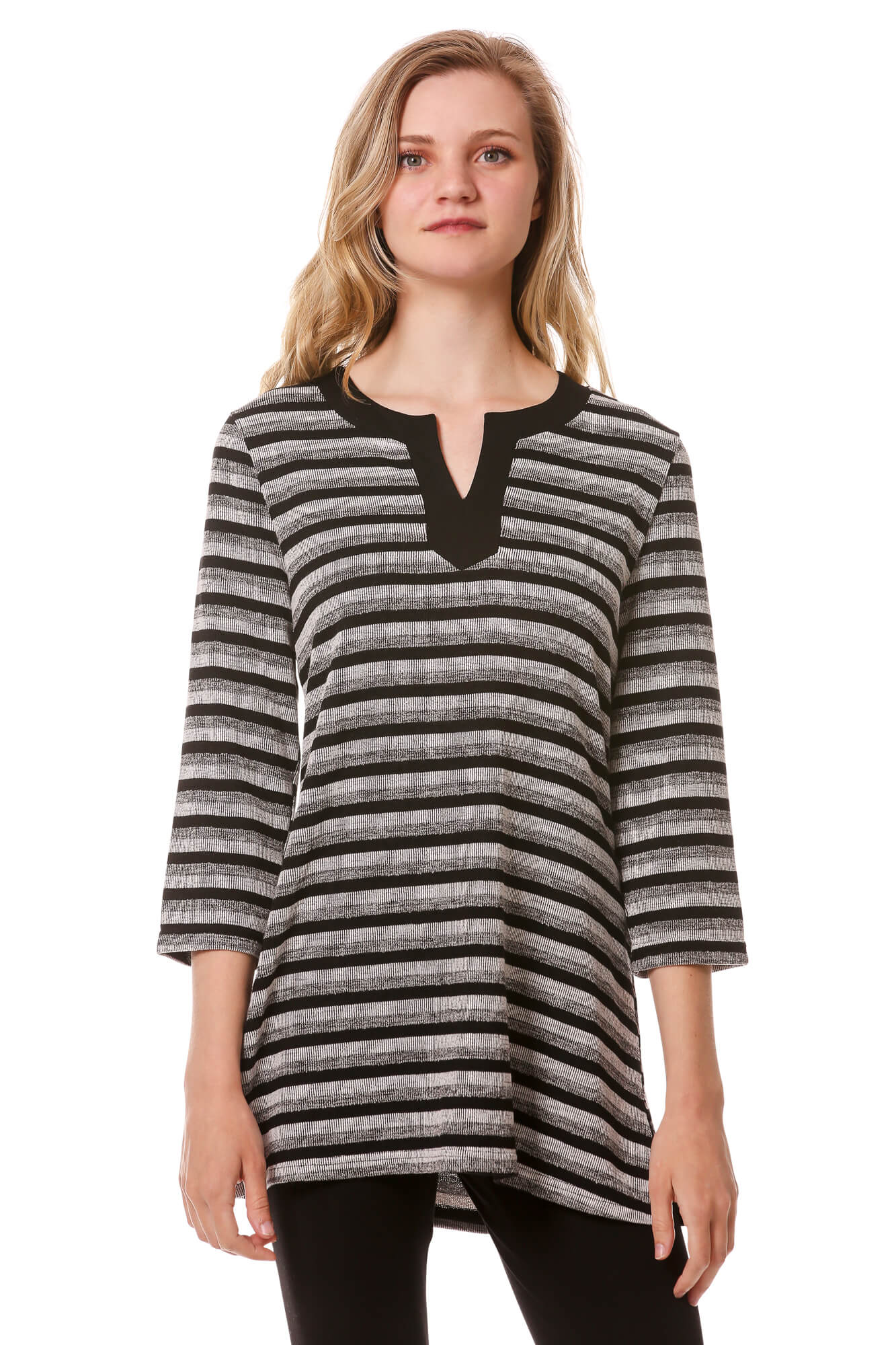 Women's Striped Djellaba Neckline Tunic | V Neck Top 3/4 Sleeves | Neesha Fashion