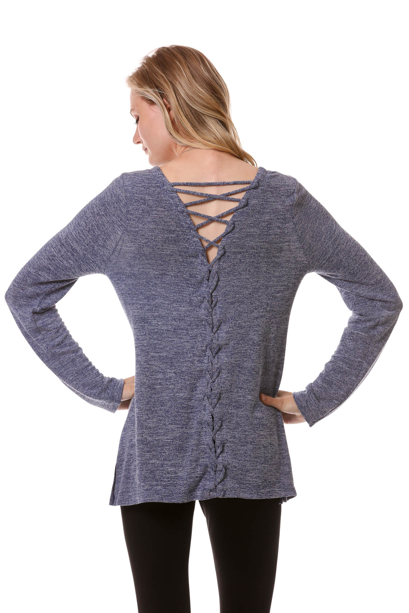 Women's Long Sleeve Lace Up Back Top | Basic Cozy Scoop Neck in Blue | Neesha