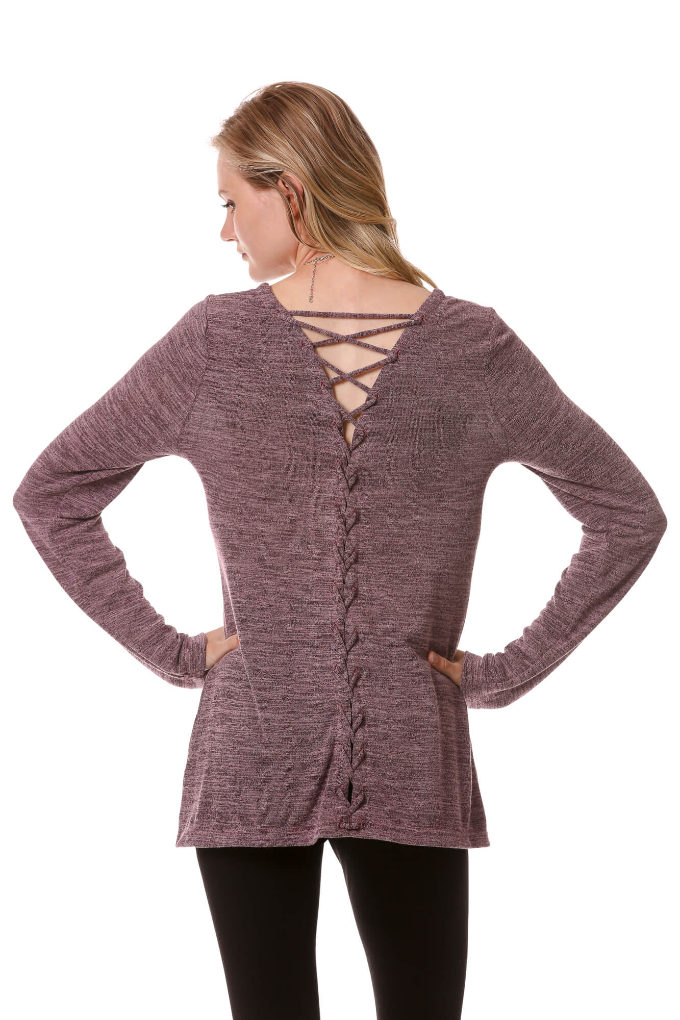Women's Long Sleeve Lace Up Back Top | Basic Cozy Scoop Neck in Purple | Neesha