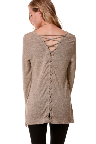 Long Sleeve Lace Up Back Top