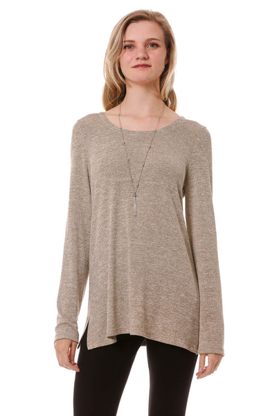 Women's Long Sleeve Lace Up Back Top | Basic Cozy Scoop Neck in Taupe | Neesha