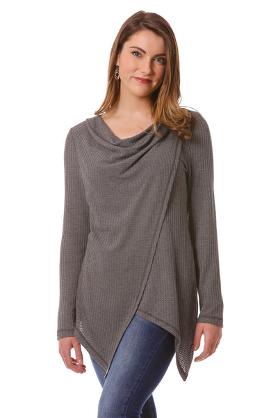 Women's Crossover Cowl Top | Grey Crossover Wrap Top for Fall | Neesha
