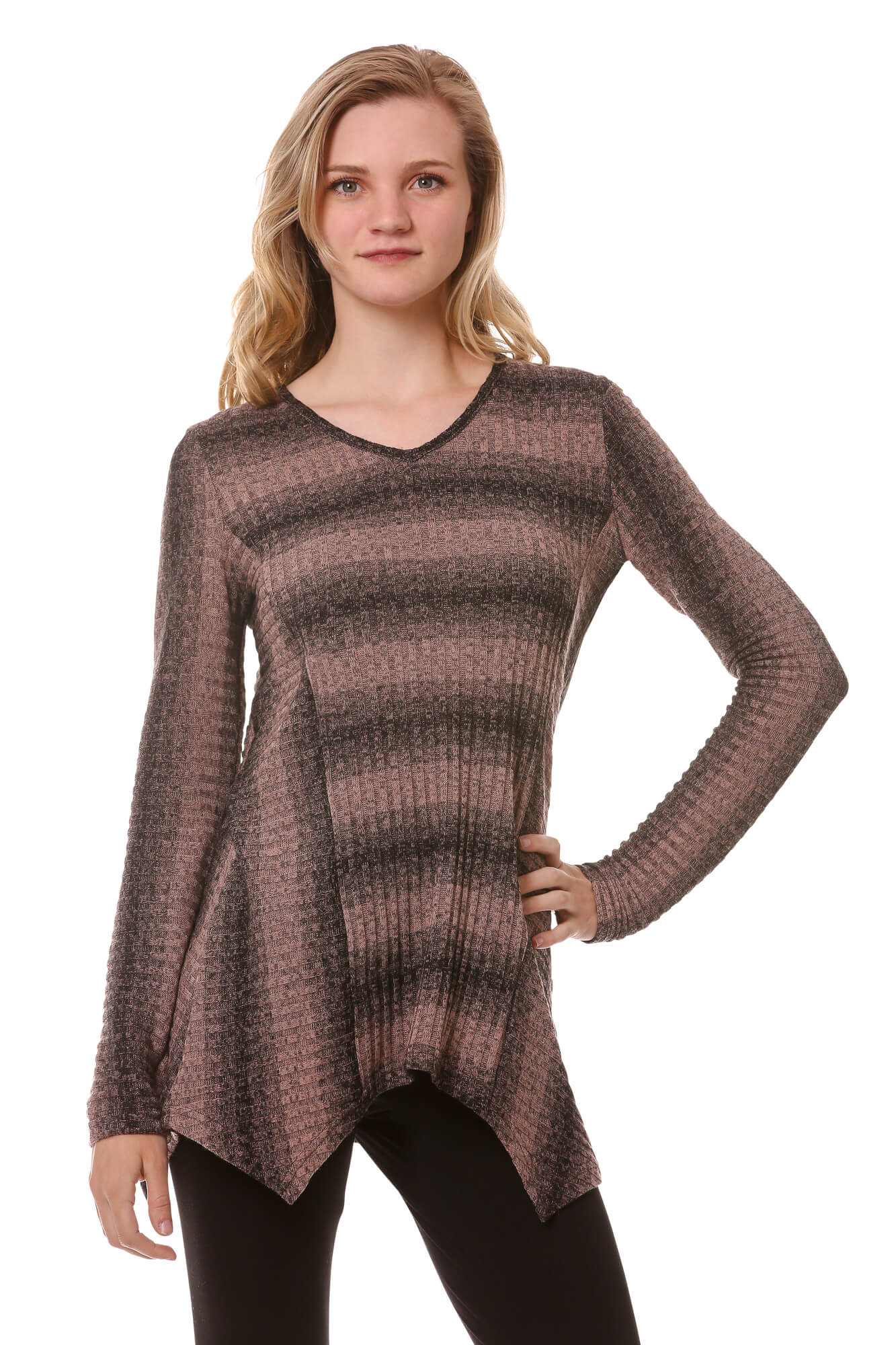 Asymmetrical Hem Striped Rib Knit Tunic-Mauve