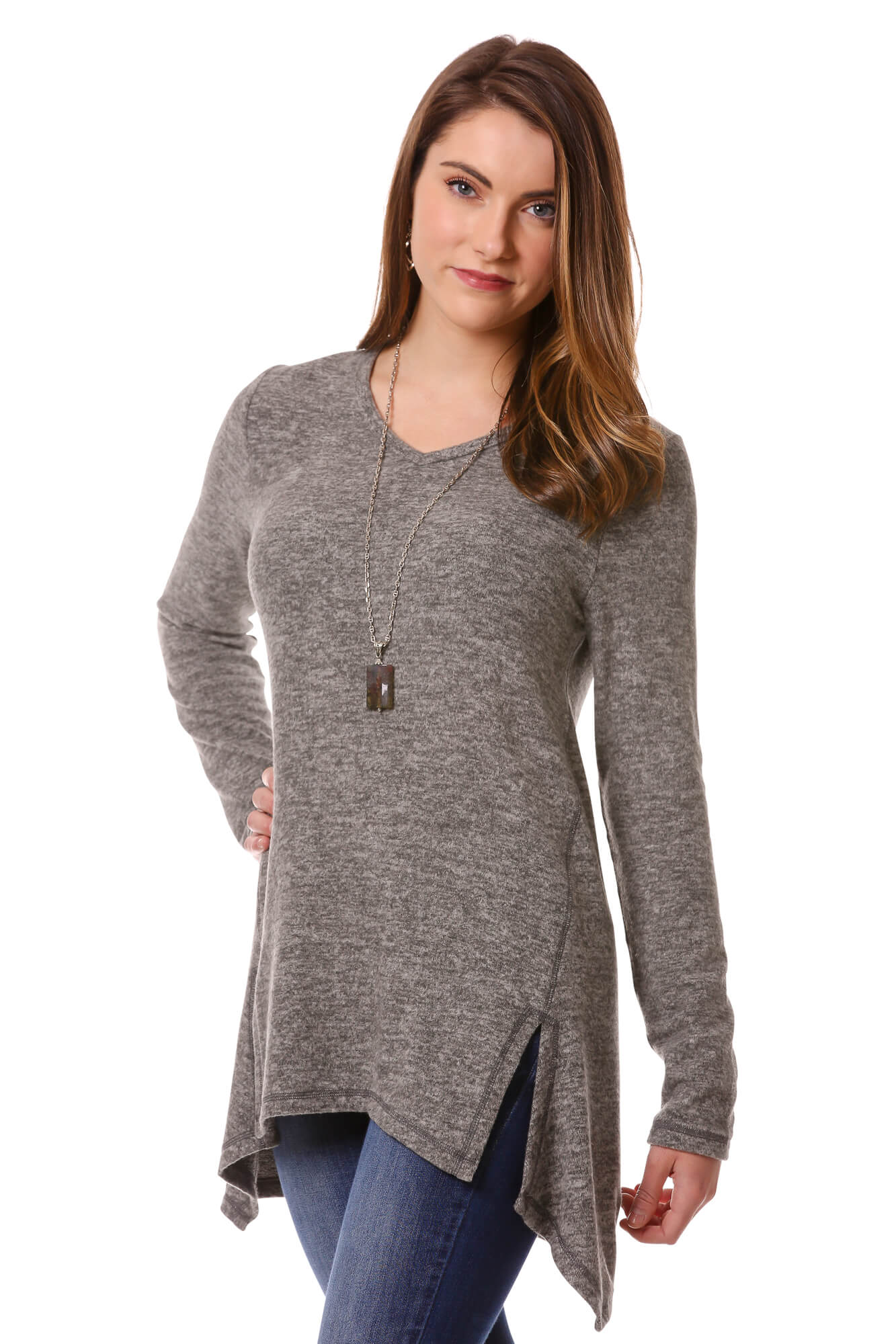 Women's Charcoal Soft Knit Long Sleeve Tunic Top | Cozy Top For Winter | Neesha