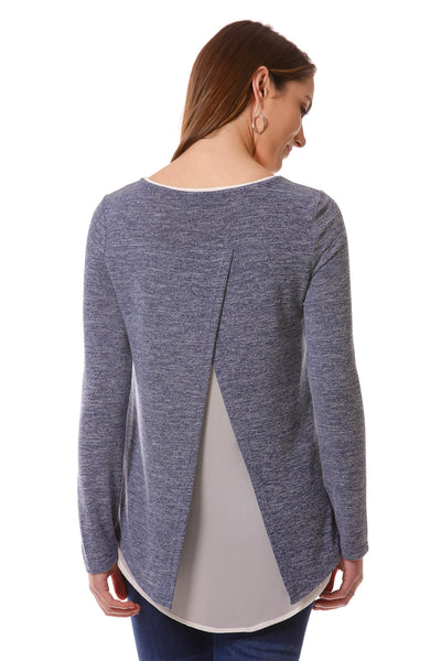 Women's Blue Open Back Layered Top | Cozy top for Fall/Winter | Neesha Fasion