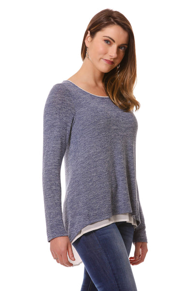Women's Blue Open Back Layered Top | Cozy top for Fall/Winter | Neesha